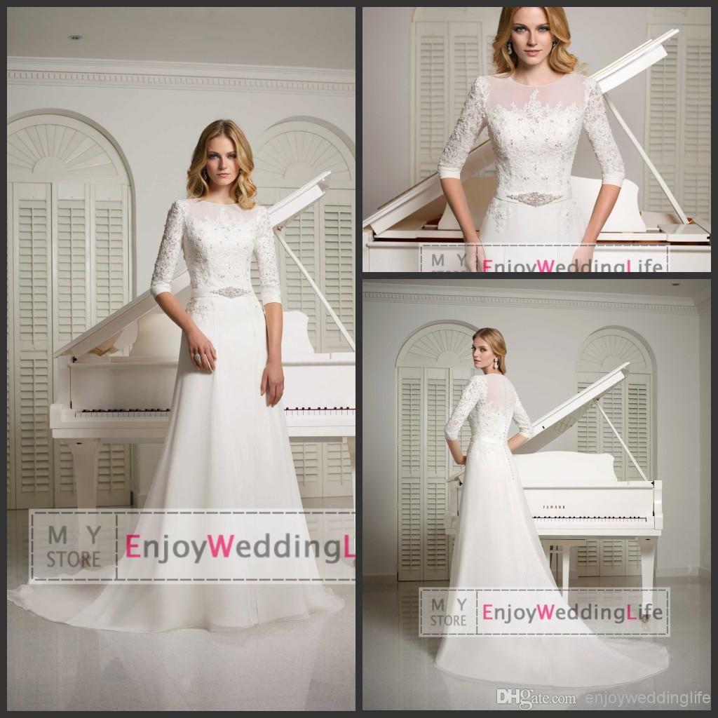 sexy new sheer long sleeves chiffon a aline wedding dresses