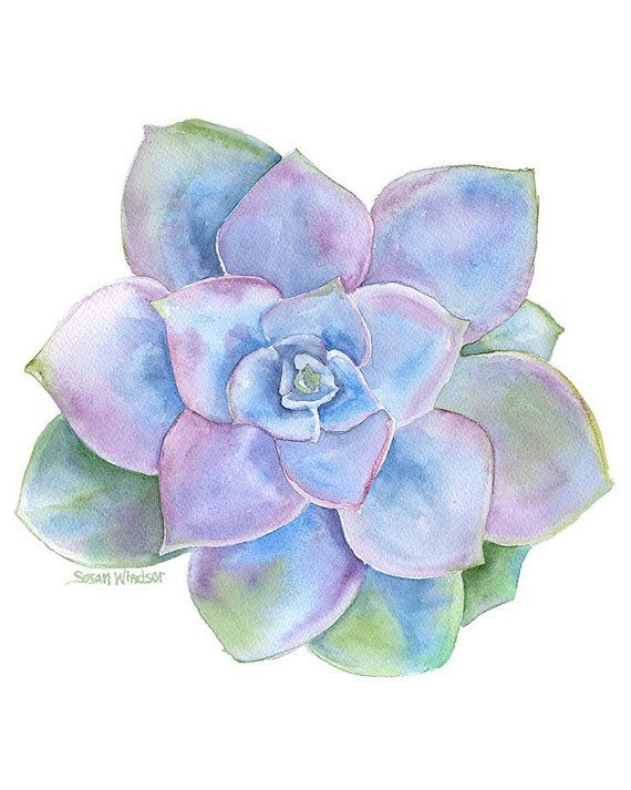 Blaue saftig Aquarell - 11 x 14 - Giclée-Druck #blue