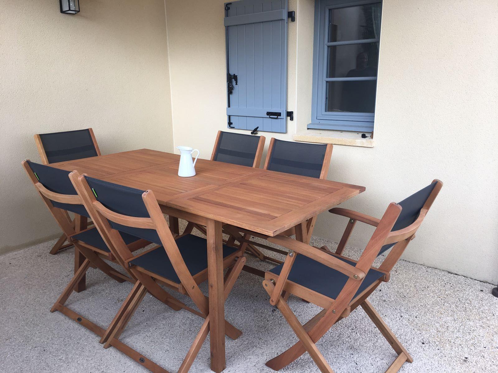 Almeria : Table de jardin en bois extensible 120-180cm, 2 ...