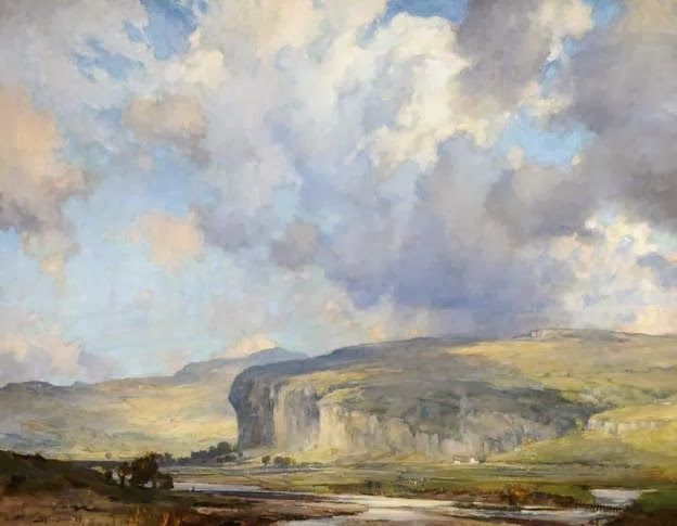"Bertram Priestman, ""Kilnsey Crag, Wharfedale, Yorkshire"" (1929)"