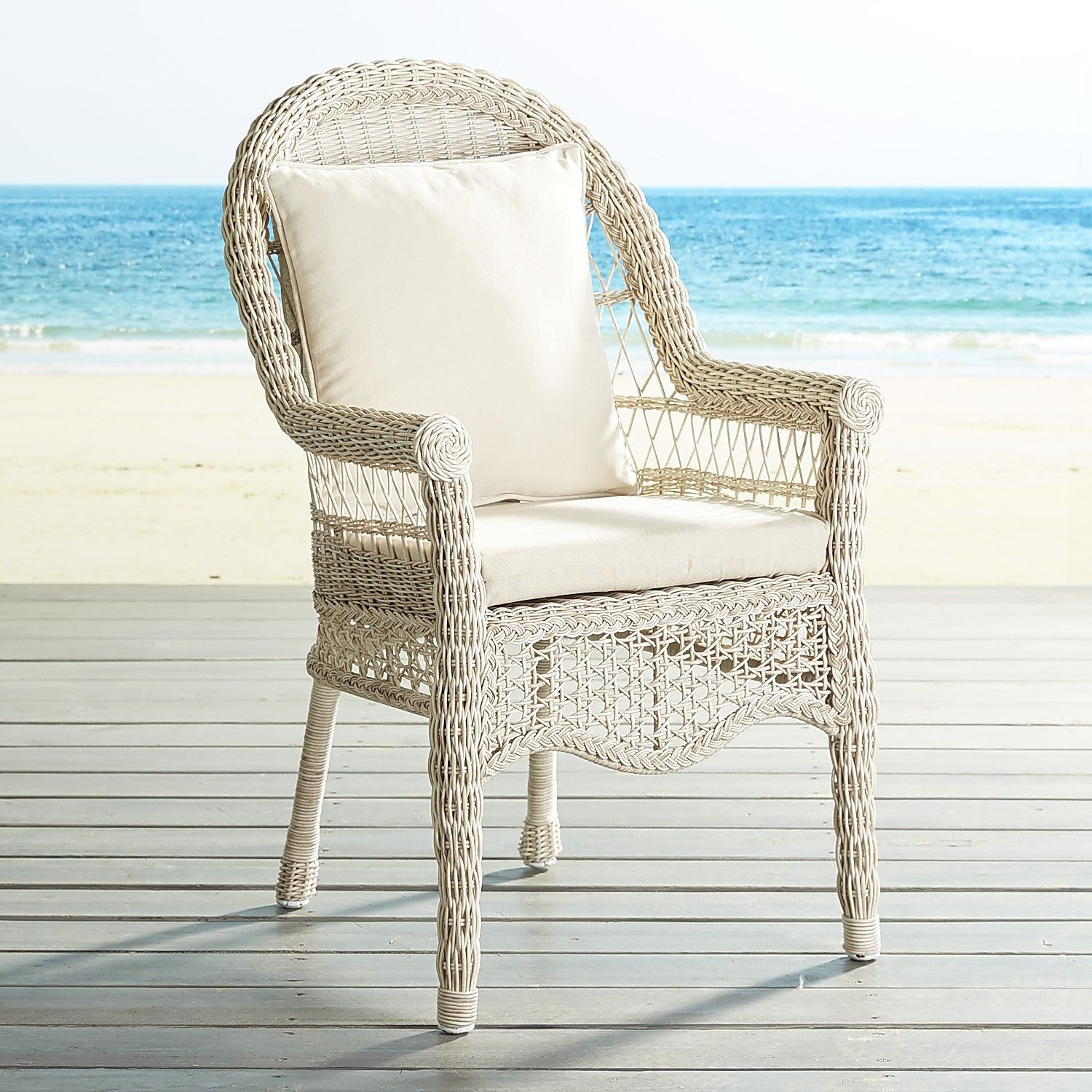 Sunset pier parchment dining chair traditional outdoor dining