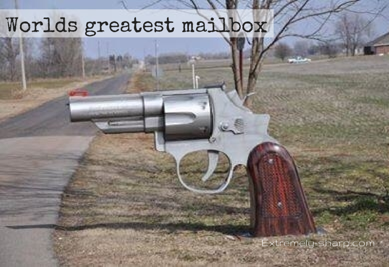 Gun Mailbox | Extremely-sharp humor | armed home | board of man | worlds greatest mailbox | Home protection | burglary prevention system |