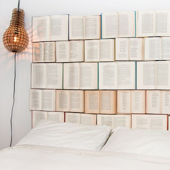 An easy DIY headboard made of thrifted vintage books ...