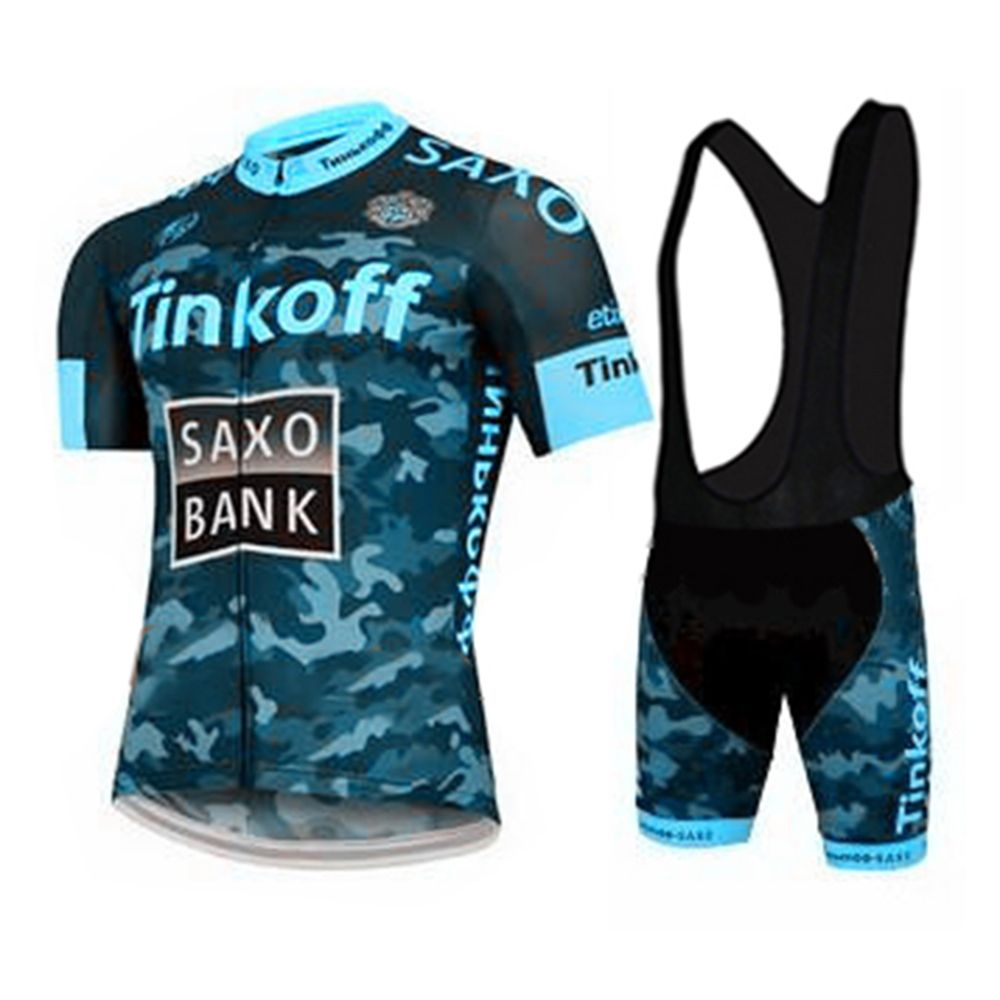 Men Blue Camouflage Short Sleeves Bike Bicycle Jersey Black Bib Shorts  Quick Dry Cycle Wear Cycling e48dc90c6