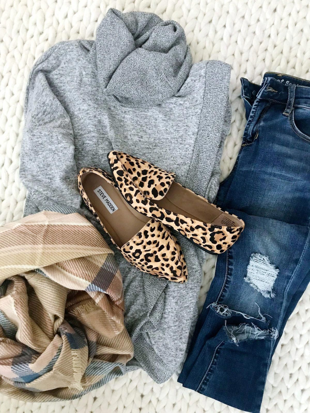 b4d1131c6e4 Fall outfit with cardigan jeans and leopard flats  fallwomensfashion ...