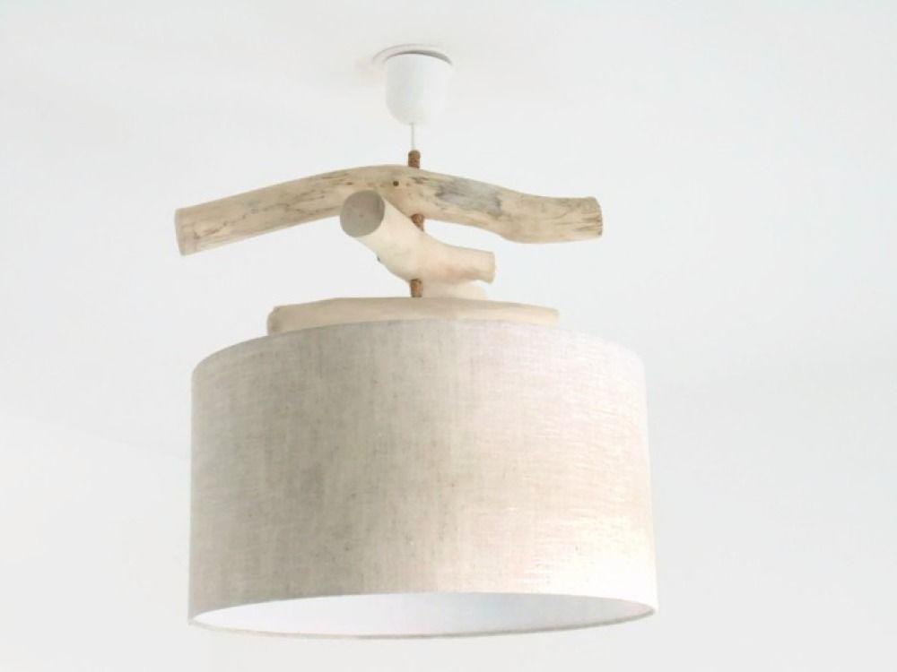 Lustre bois flotté lin abat jour cylindre 45 cm suspension