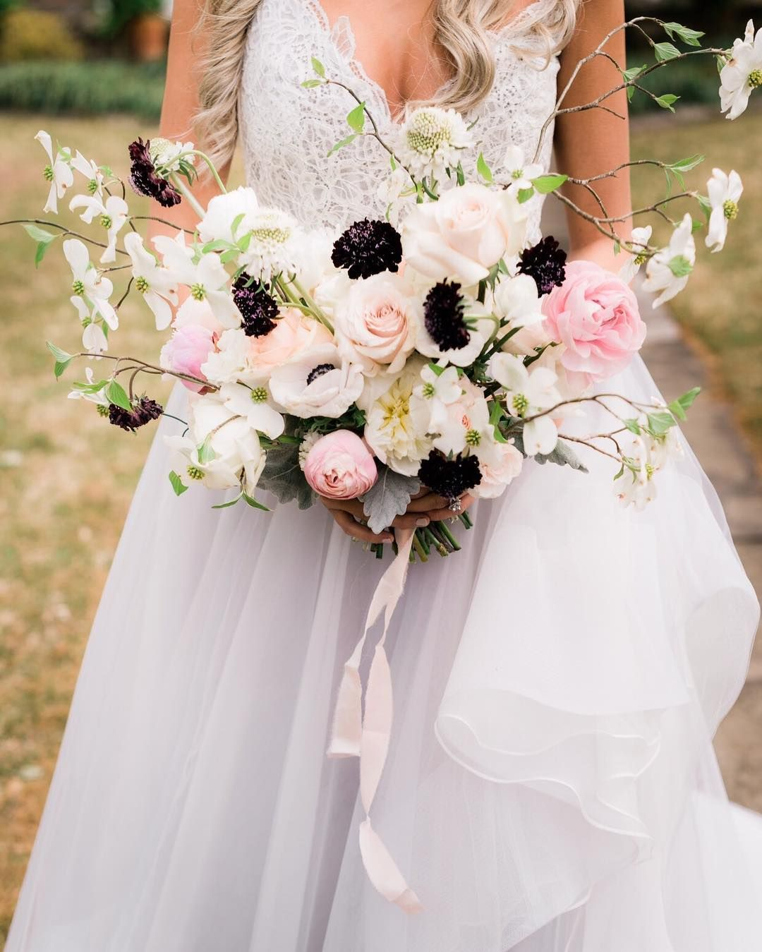 Romantic Loose White Pink Black Bouquet Spring Winter Wedding