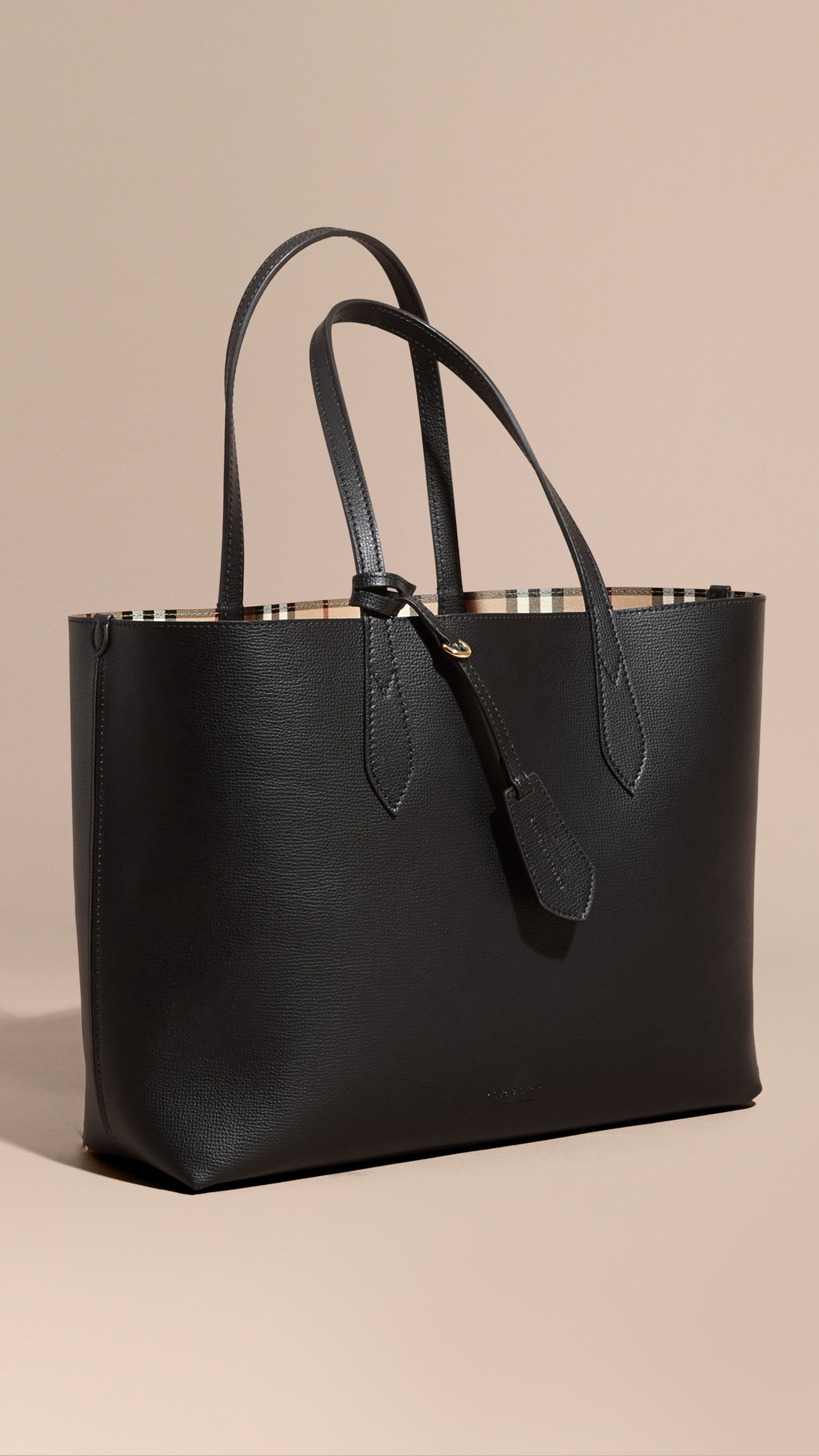 ffa14bf123da The Medium Reversible Tote in Haymarket Check and Leather Black