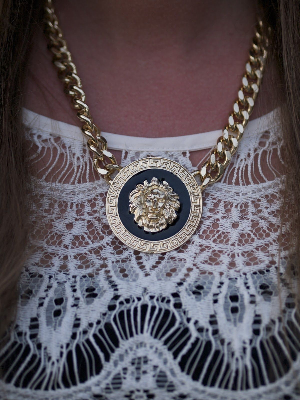 love this lions head medallion necklace