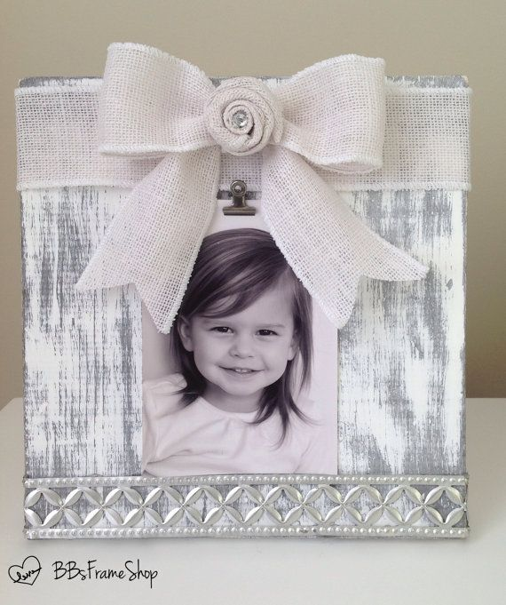 Handmade distressed white and grey wooden picture frame with ...