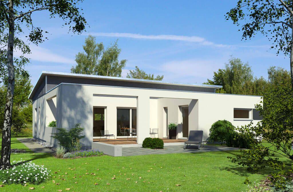 Skandinavischer bungalow  baufritz_planMit-pultdach-bungalow_gartenansicht.jpg | wohnen ...