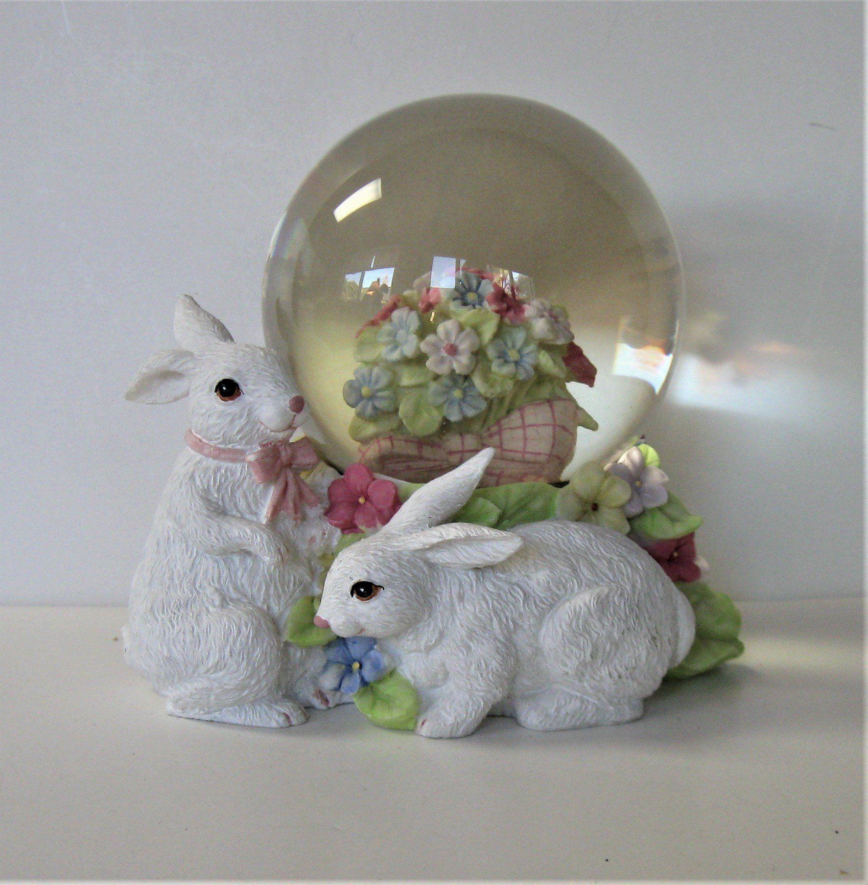 "Vintage Bunny Rabbits Snow Globe, 12"" x 12, garden flowers, Shabby"