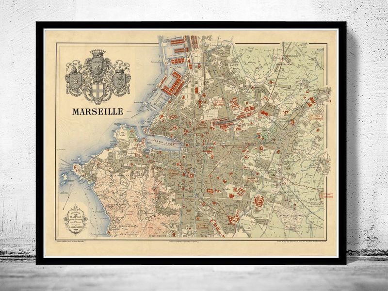 Old Map of Marseille France 1894 Vintage Marseille France and