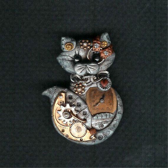 ∻ Steampunk Grey Tabby Cat Pin Brooch Polymer Clay Jewelry ∻