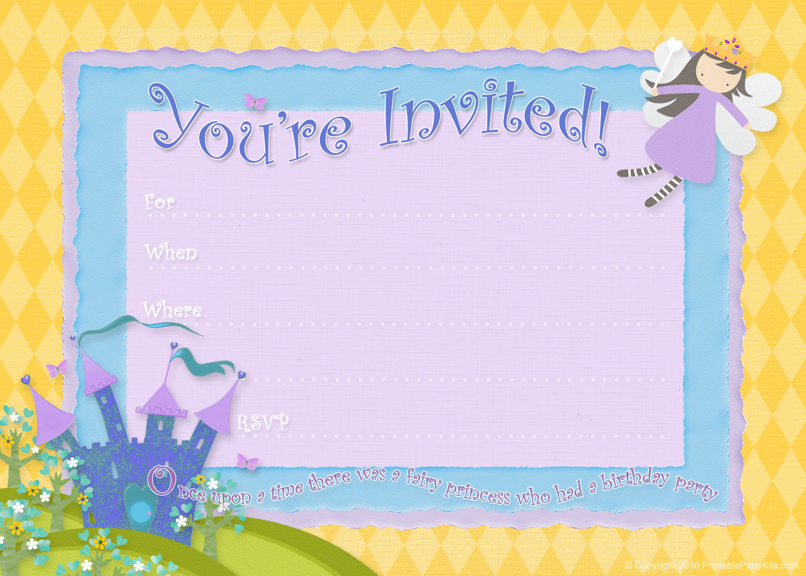 Fairy Princess Party Invitation From PrintablePartyInvitationsBlogspot