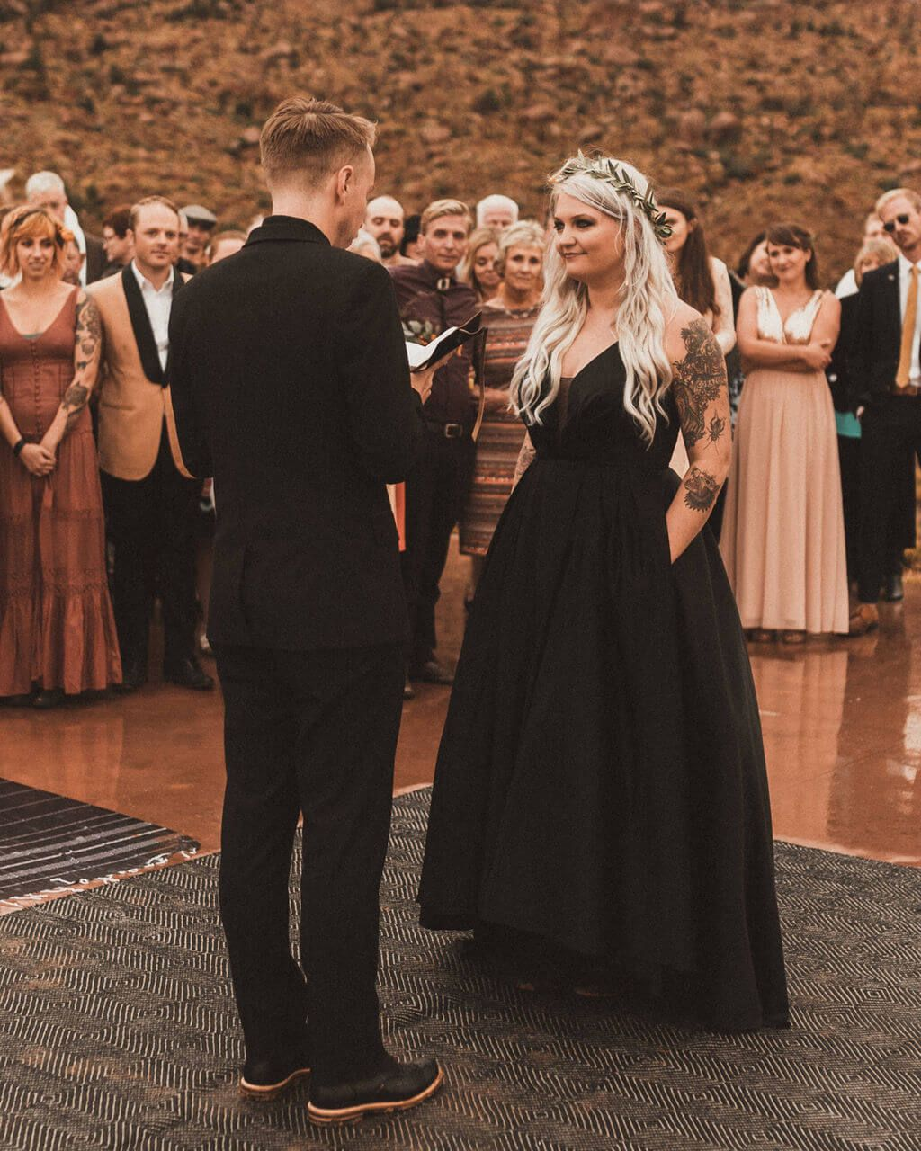 Black And Gold Tattooed Wedding In Zion Destination Wedding Planner Boho Wedding Dress Festival Style Wedding Boho Wedding Gowns