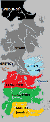 Political map of Westeros (during Season 2) showing the major