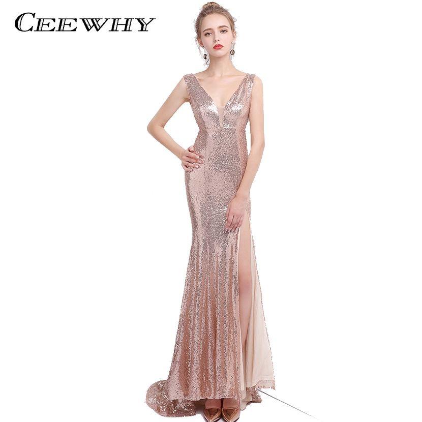 CEEWHY Split Mermaid Formal Dress Luxury Sleeveless Sexy Sequined Prom  Dresses Mermaid Evening Dresses Sparkly Evening 7db91af004ba