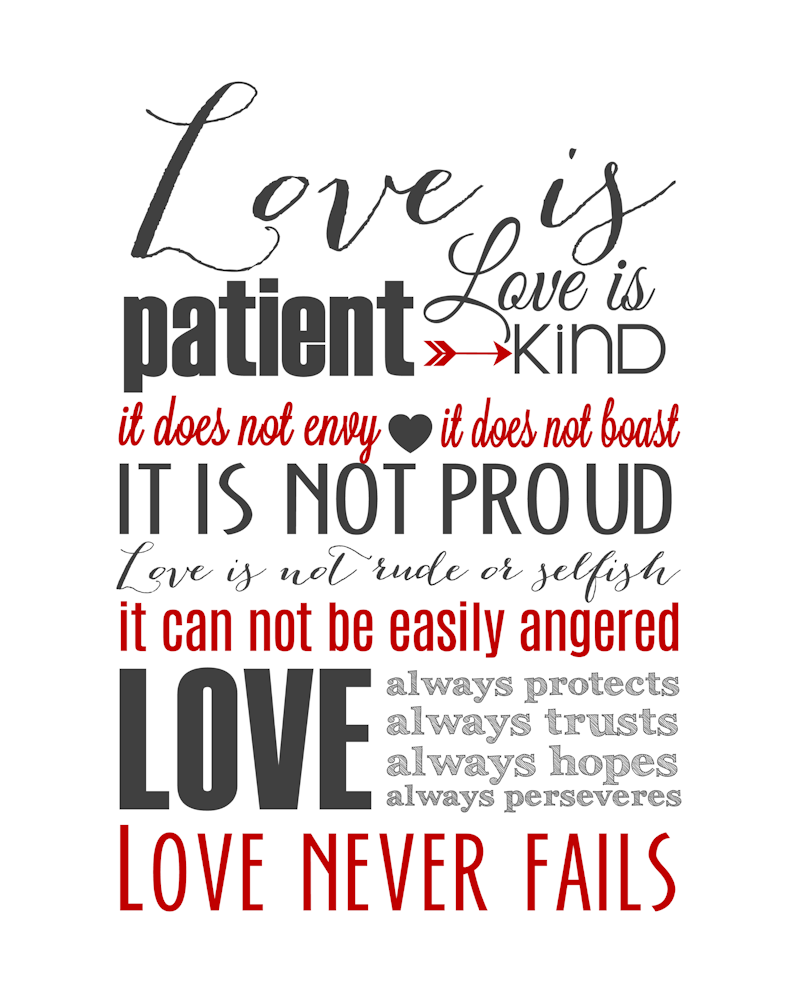Love Is Patient Quote Love Is Patient Subway Art Printable 1 Corinthians 13  Pinterest