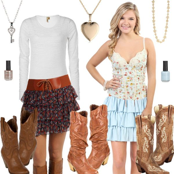 Cute skirts cowgirl boots and jeans and shorts | ... top mid calf ...