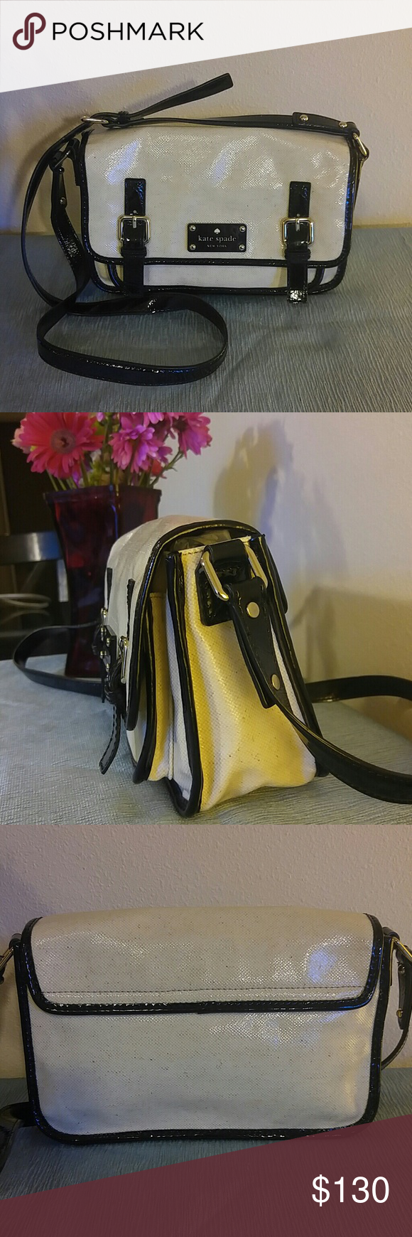 "New Kate Spade coated canvas and patent leather ba 11""x8""x4"" water proof/snow proof new coated canvas and black patent leather crossbody bag with gold detailing and magnetic closure, perfect inside and out. kate spade Bags Crossbody Bags"