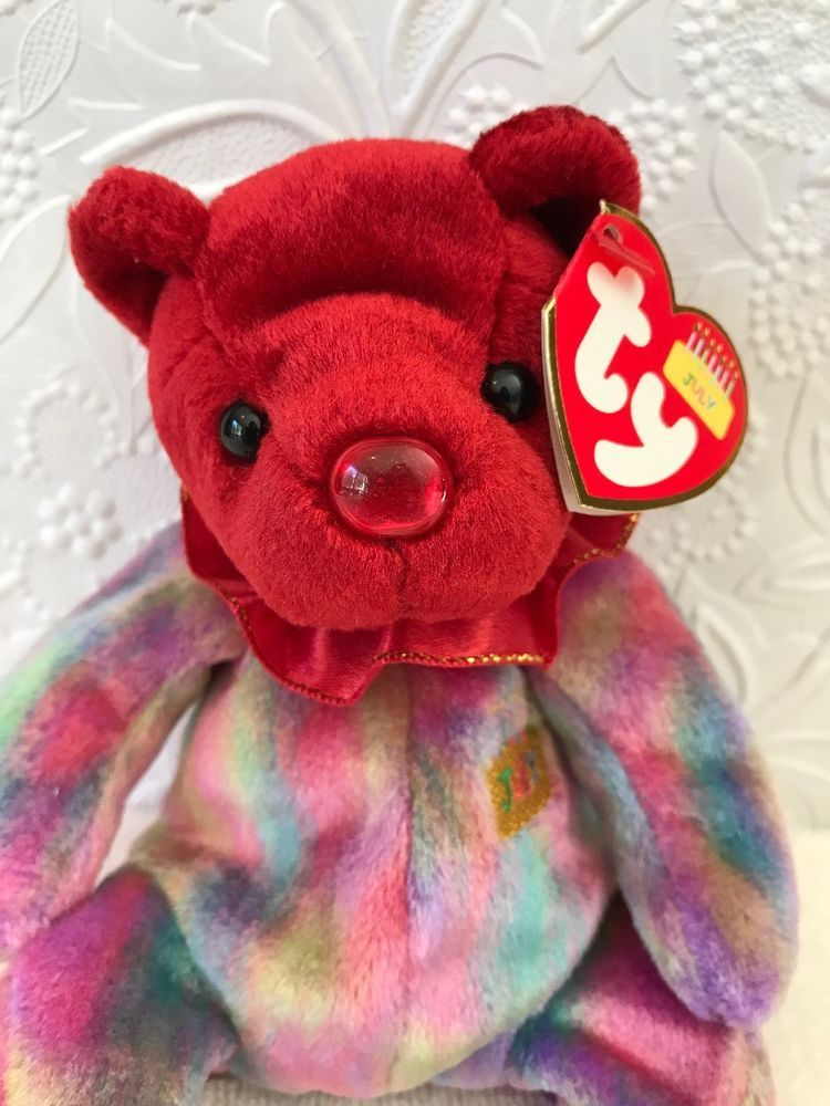 July TY Beanie Baby Happy Birthday Month Pot Belly Bear MWMT 8