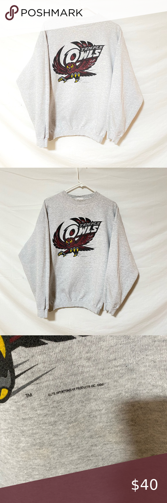 1996 Temple Owls Crewneck 90s Streetwear Vintage Sweatshirt Tie Dye Disney [ 1740 x 580 Pixel ]