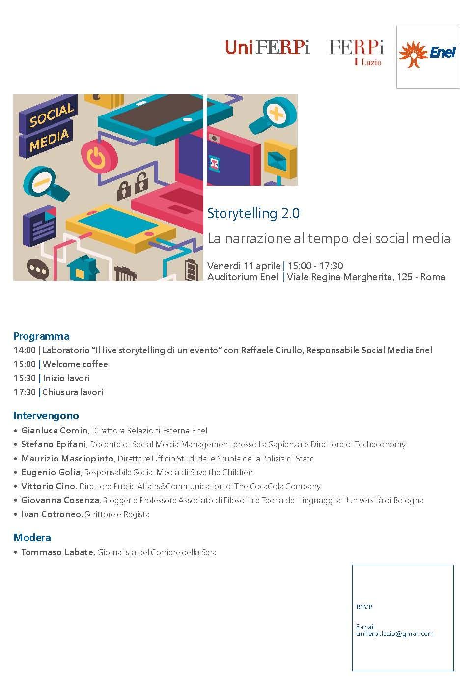 """#Programma #Evento """"#Storytelling 2.0. La narrazione al tempo dei #SocialMedia"""" #digitelling http://bit.ly/1lmn4D6"""