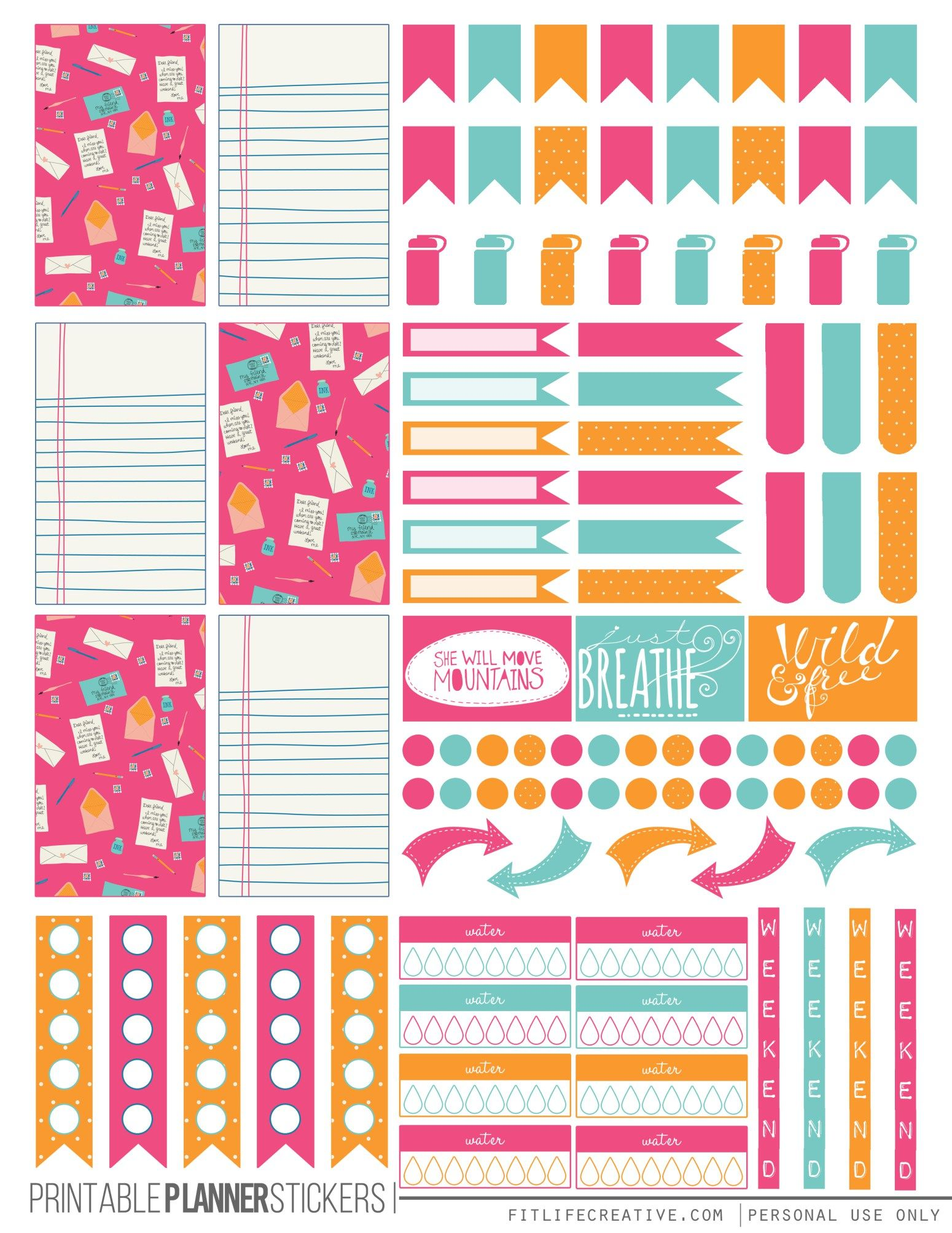 Colorful Correspondence Planner Stickers Planner Stickers Happy Planner Printables Planner Printables Free