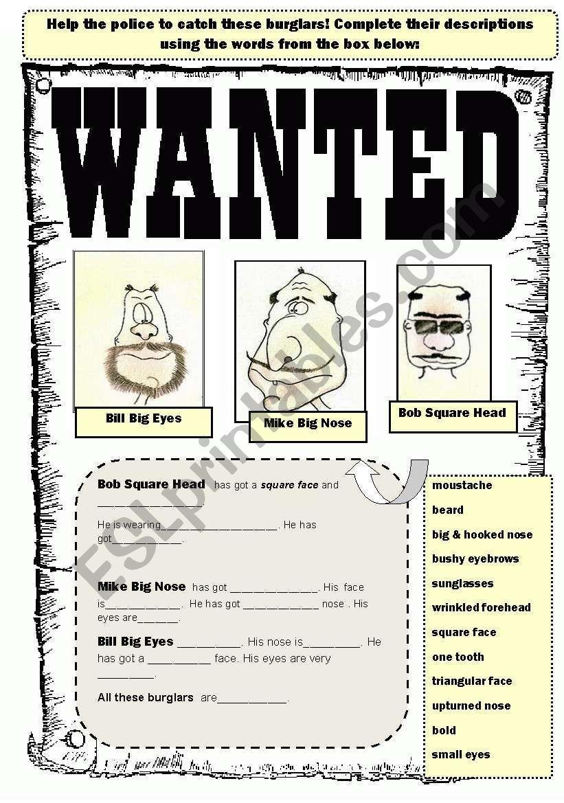 Eine weitere Version eines Arbeitsblatts zur Beschreibung des Erscheinungsbilds. Studenten müssen beschreiben …