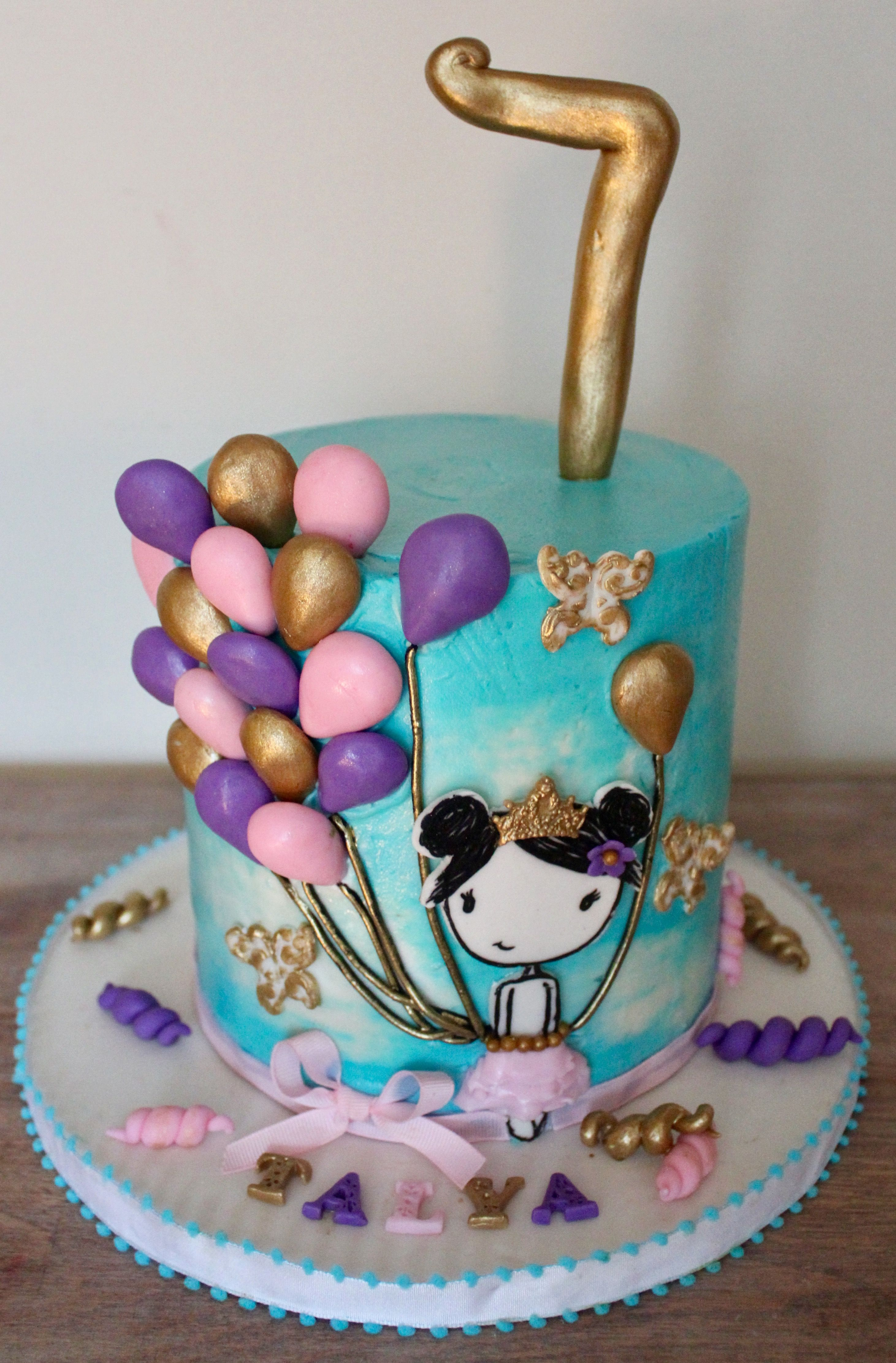 Simple cute balloon and cartoon princess tutu birthday cake with sky