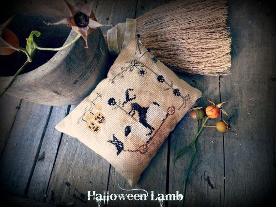halloween Lamb cross stitch pattern primitive