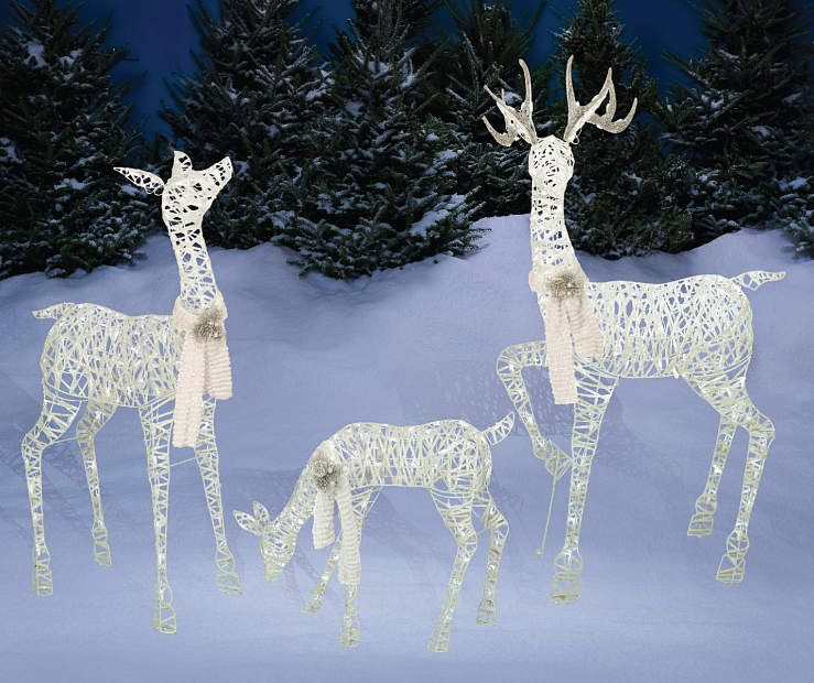 White Led Light Up Deer Family 3 Piece Set Big Lots Christmas Lawn Decorations Christmas Deer Decorations Deer Family