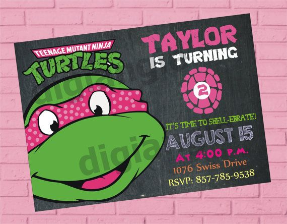 Girl teenage mutant ninja turtle birthday invitation ninja girl teenage mutant ninja turtle birthday invitation ninja turtles invitation ninja turtle party solutioingenieria Images