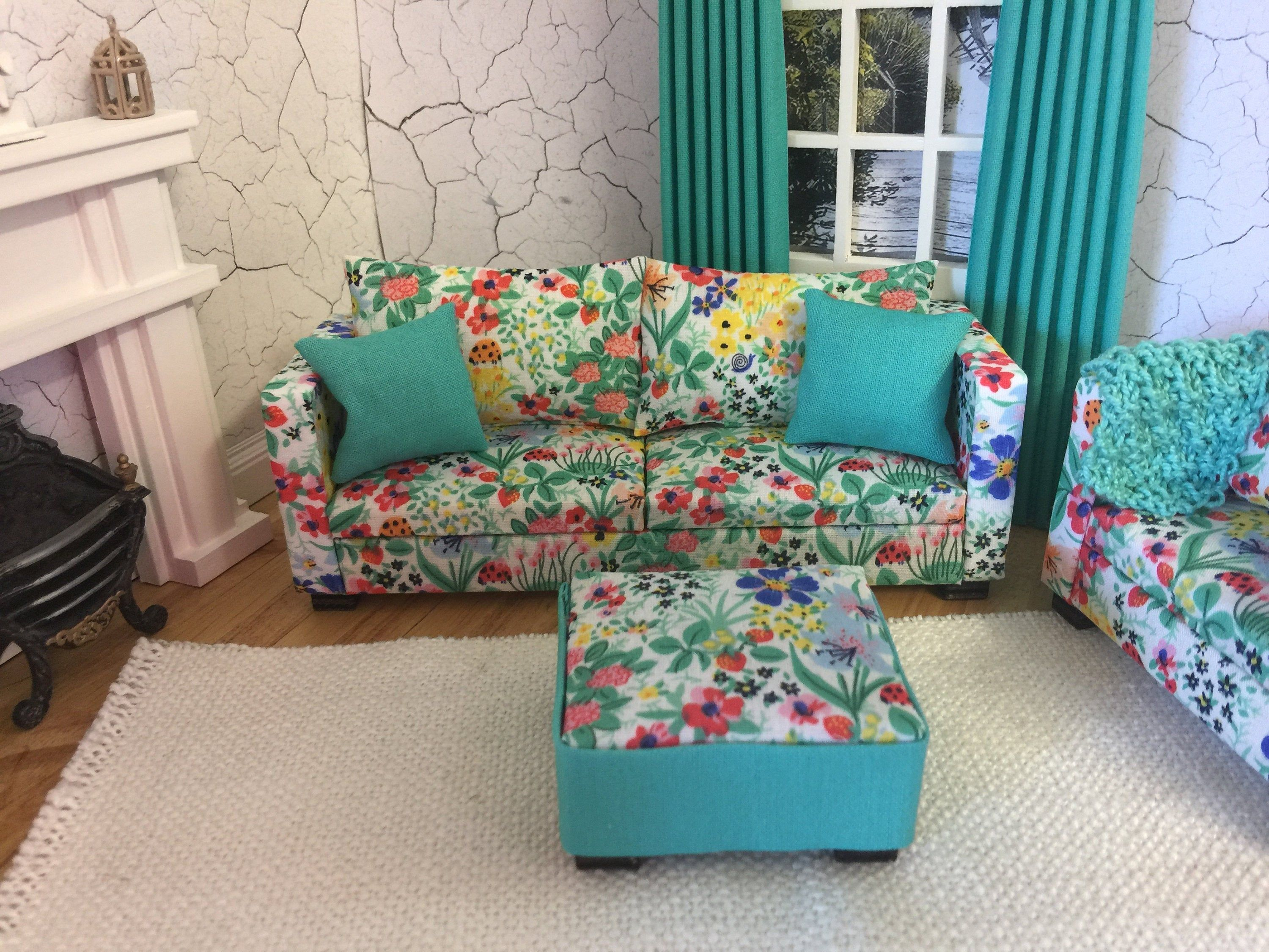 3 x Sofa Set Furniture Living Room Couch Flower Dollhouse Miniature 1:12 Scale
