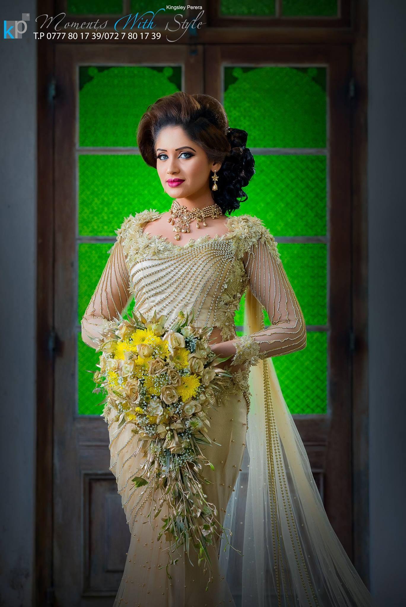 Sri Lankan Wedding Dressed By Salon Geethanjalee Indian Wedding Dress Modern Indian Wedding Dress Wedding Dress Styles