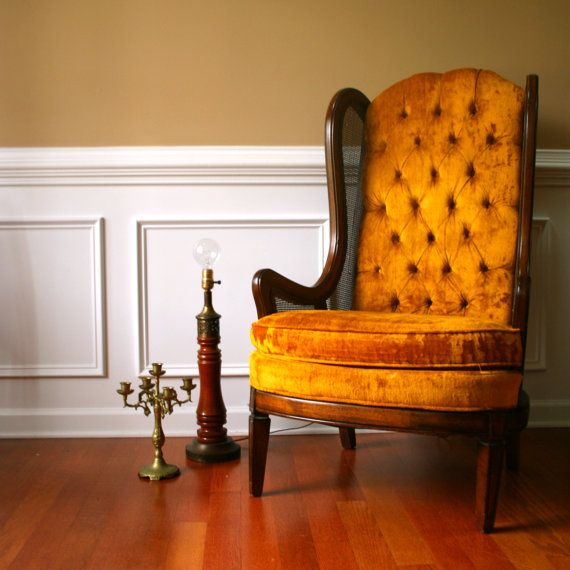 Autumn Gold High Back Lewittes Wingback Chair Vintage Velvet. Button  Tufting Caning Maple Finish. - Autumn Gold High Back Lewittes Wingback Chair Vintage Velvet. Button