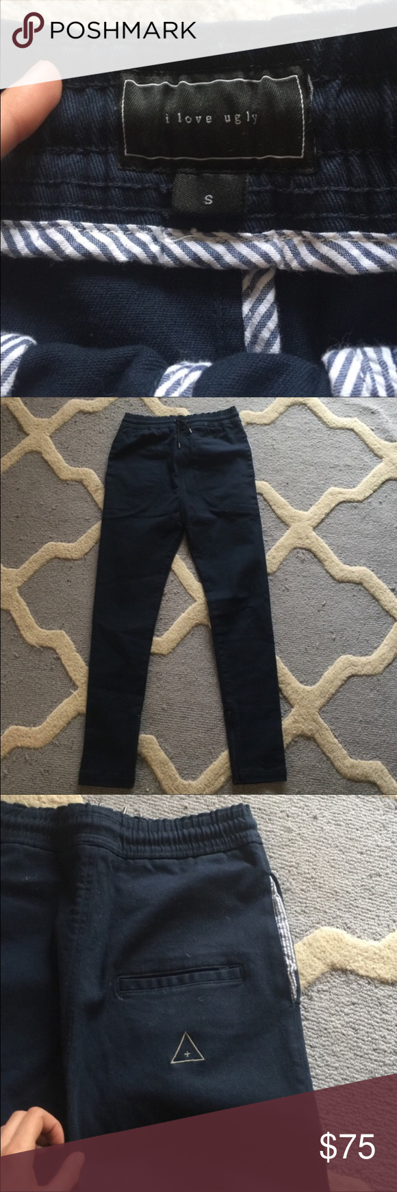 I love Ugly Zespy Drop crotch pants I love ugly (LA Brand) Navy Blue Drop Crotch* Draw string* Ankle Zipper* Seer Sucker Pockets* skinny/slim fit. Literally worn once. Mint/brand new  condition. Size small. About a 29-32 in the waist. Will ship within 1 business day. I Love Ugly Pants Chinos & Khakis