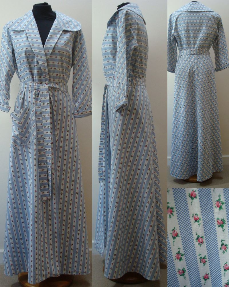 Vintage 1950 s floral full length tie wasted dressing gown robe ...