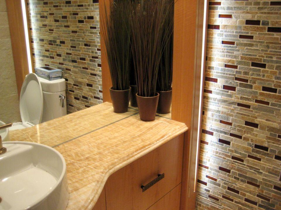 Desert Gold Falling Water Slate With Honey Mini Flat Bars Used In A Powder Room Modern Bathroom Tile Tile Bathroom Handmade Glass Tile