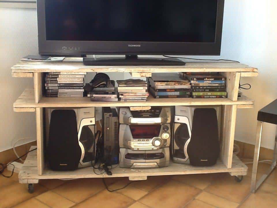 Meuble Tv En Palettes Pallet Tv Stand In 2020 With Images