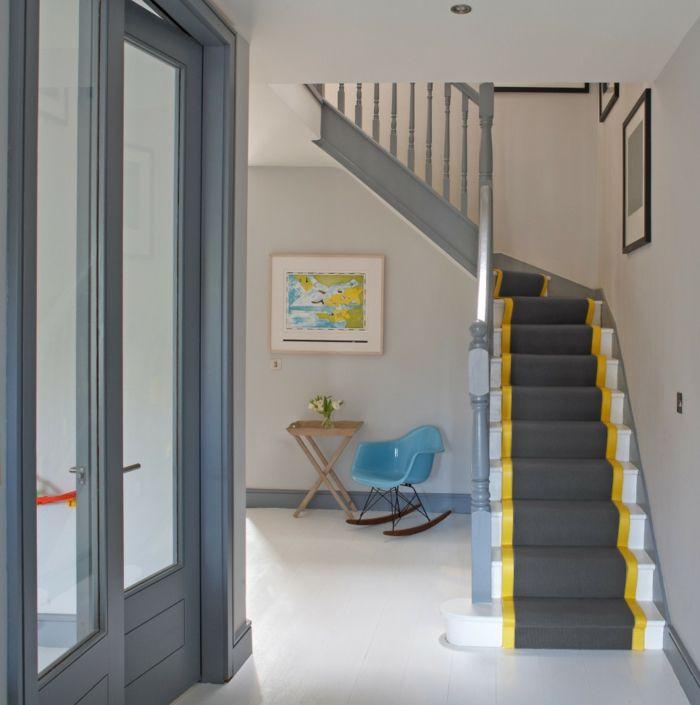 Teppichläufer Treppe teppich für treppen grauer teppichläufer gelbe akzente wohnideen