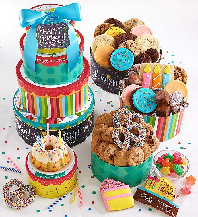 Big Wish Birthday Gift Tin Tower | Personalized Gifts | Cheryls.com | A birthday gift they will never forget! Our festive gift tower arrives with a yummy selection of assorted cookies!