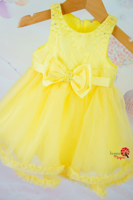8fe0c0f6a Vestido de Festa Bebê Amarelo Renda e Tule Petit Cherie | Vestidos ...