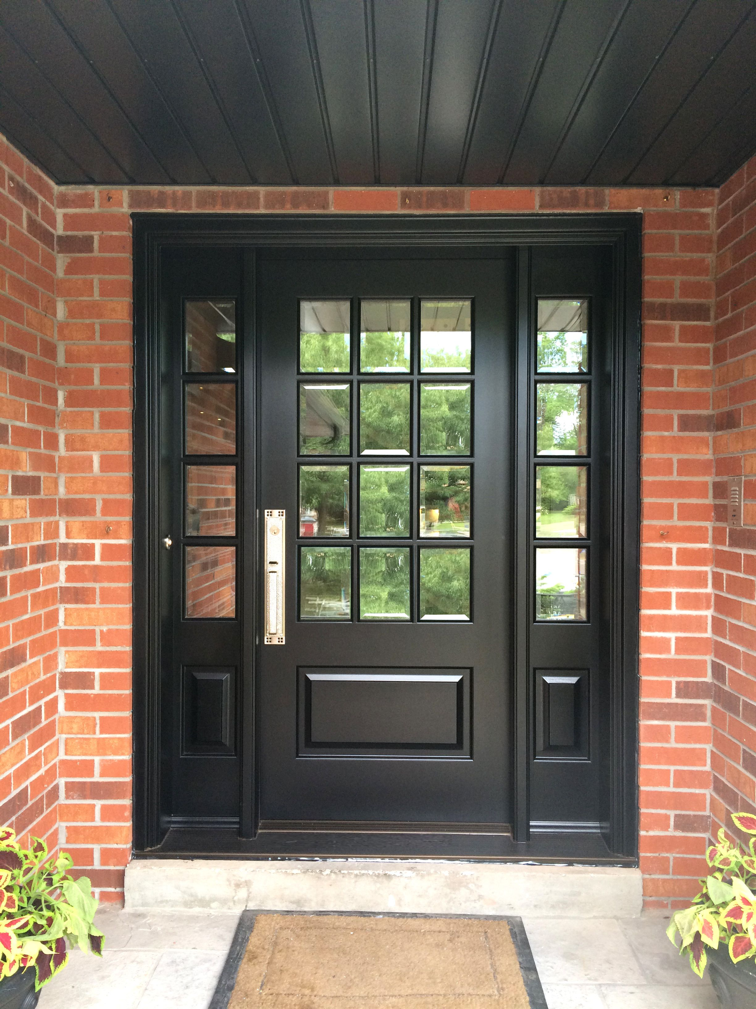 This Richly Black Stained Solid Mahogany Amberwood Custom Door With 12 Divided Lights Looks Stunnin Brick Exterior House Black Exterior Doors Exterior Doors