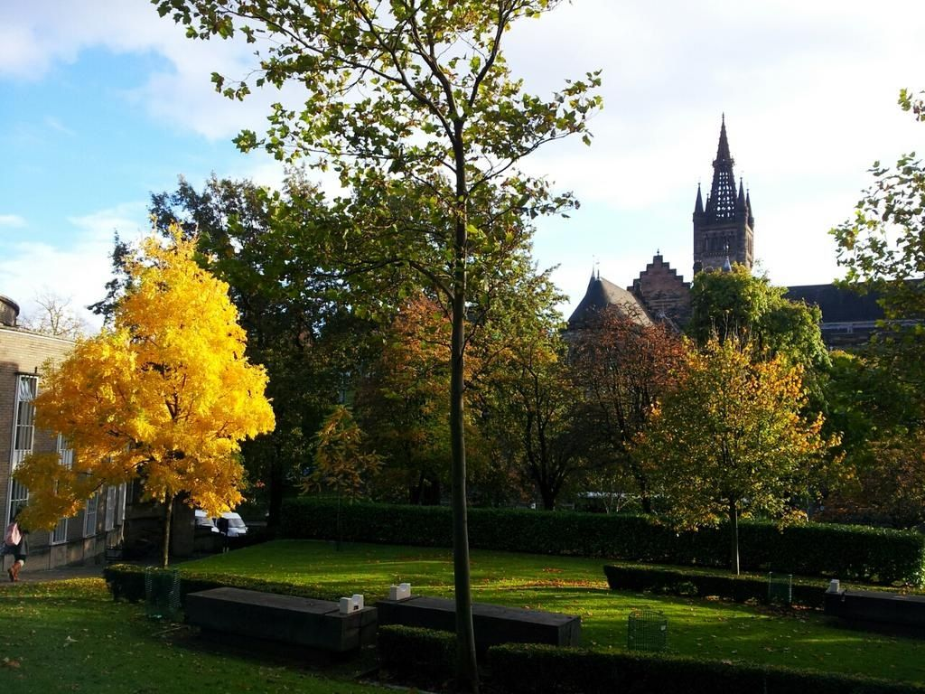 Autumn view of University of Glasgow's main building from the library.