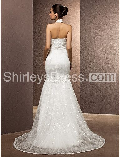 Mermaid High-neck Lace Wedding Dress With Removable Skirts