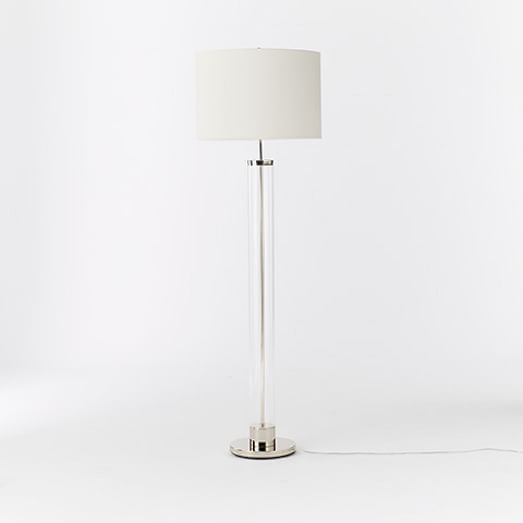 Acrylic Column Floor Lamp- Polished Nickel/White