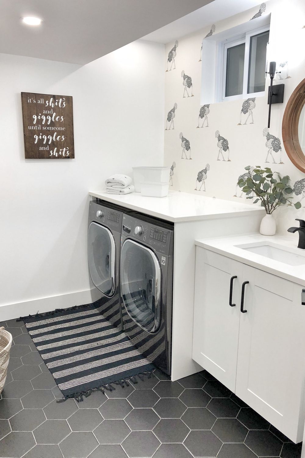 Floor Countertop Sink Laundry Room White Property In 2020