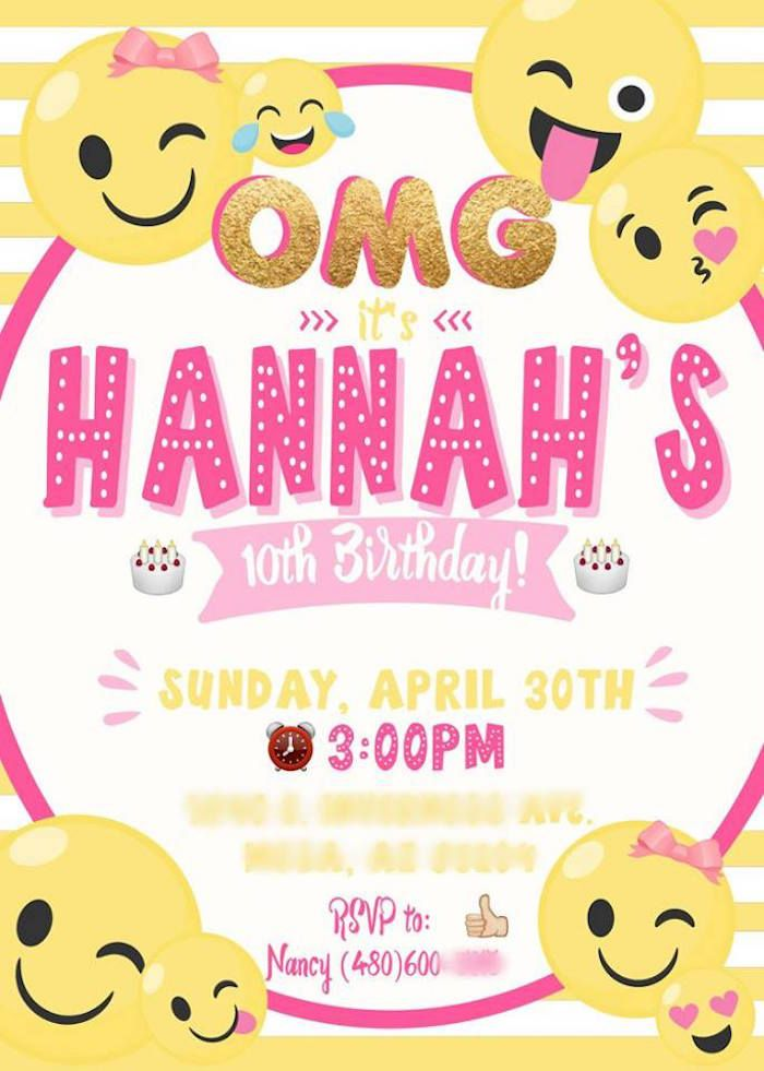 Emoji Party Invite From A Pink Gold Birthday On Karas Ideas